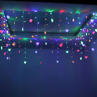 SVELTA LED Curtain lights 4M AC Heart Love Shaped Fairy Wedding Festival Holiday Party Decoration Garland String Lights Indoor