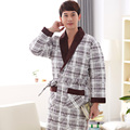 Three layer thickening winter bathrobes nightshirt quilted jacket cotton kimono pajamas mens thick male robe plus size suitXXXXL