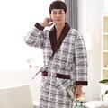 Tres capas engrosamiento invierno albornoces camisón de algodón acolchada chaqueta kimono pijamas para hombre gruesa bata más el tamaño suitXXXXL