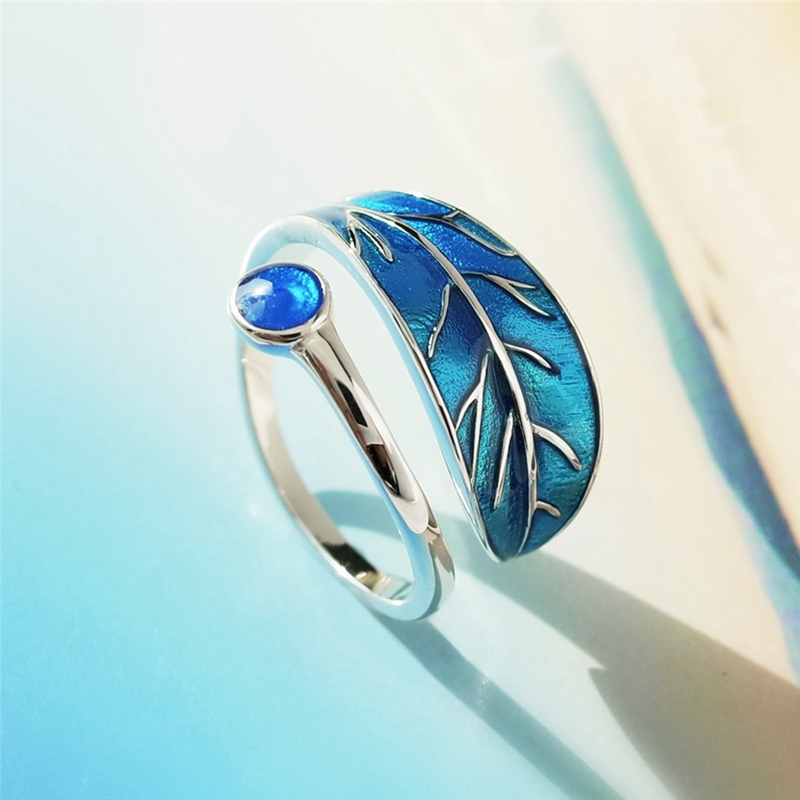 New design sterling silver original personality temperament female ring blue drop glaze tree leaves rings New design sterling silver original personality temperament female ring blue drop glaze tree leaves rings