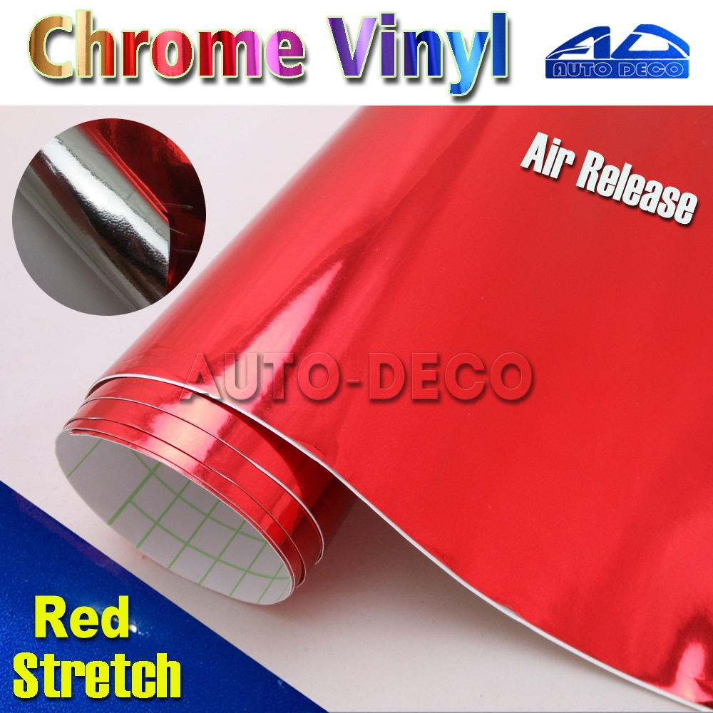 Mirror Chrome Vinyl Car Wrap Red Auto Deco Sticker Film Car Color Transform Foil With Air Bubble Free size:1.52*20m/roll car styling wrap glossy yellow car vinyl film body sticker car wrap with air free bubble for vehiche motorcycle 1 52 20m roll