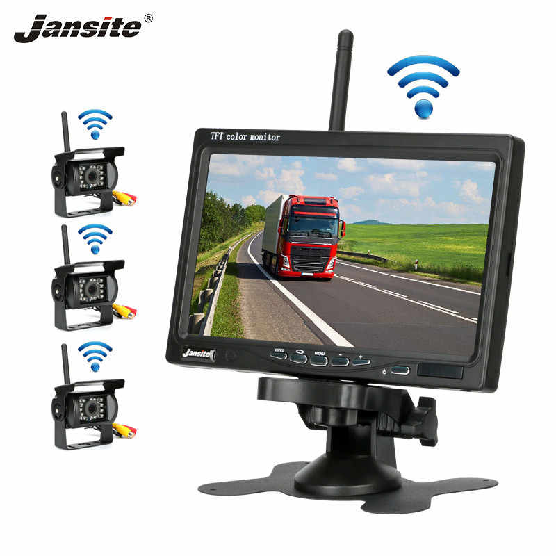 "Jansite 7"" Wireless Car monitor with 3 or 4 Rear cameras No Blind Zone Parking Rearview System for Reverse Camera support truck"