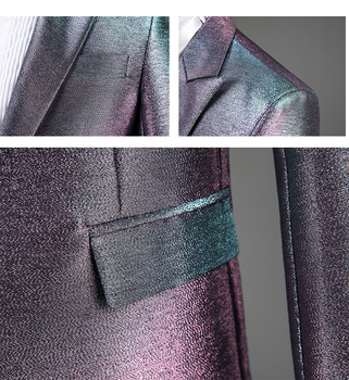 Mens Purple Blazer | Silver/Black/Purple Bright Formal Men's Suits Wedding Groom Dress Stage Male Singer Host Blazer Suit Chorus Performance Costume