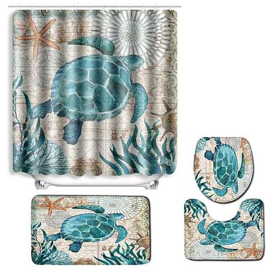 Коврик для ванной комнаты душевая занавеска в комплекте с принтом туалет 1 x Чехол, 1 x ковер, 1 x U коврик для сиденья нескользящий коврик для ванной - Цвет: turtle