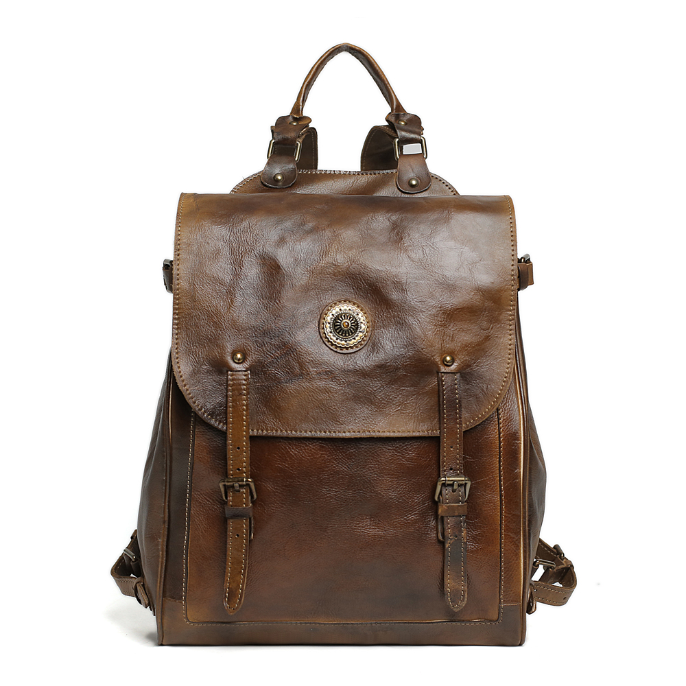 ROCKCOW High Quality Vintage Style Leather Men Backpacks For College Preppy Style Laptop Backpacks for 14 inch 9036 high quality england vintage style genuine leather men backpacks for college school backpacks for 14 inch laptop bags 9024