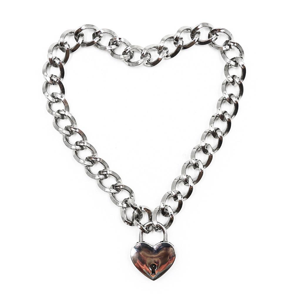 DreamBell אופנה נשים פאנק מגניב צוואר צווארון Slave משחק לחיות מחמד לב-צורת מנעול מתכת קולר שרשרת