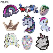 Prajna Unicorn Sequined Patches Application On Clothes Dollar Rainbow Skull Sticker For Clothing DIY Iron On Patches For T-shirt(China)