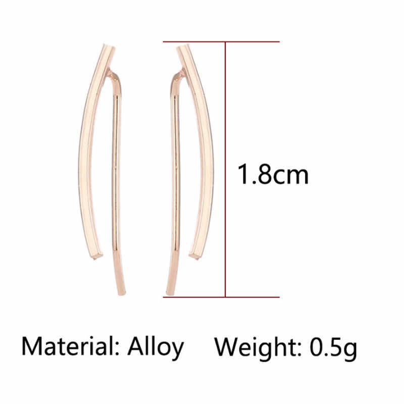 2019 חדש פשוט stud עגילים לנשים זהב כסף צבע אישיות טרנדי creative עגילים נשי תכשיטים