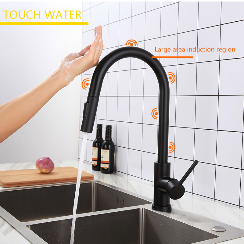 XOXO Touch Kitchen Faucet Pull Out Cold And Hot Mixer Tap Black Gold Water Single Holder Faucet Kitchen Sink Faucet 1348-1
