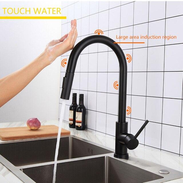 XOXO Touch rubinetto Della Cucina Pull Out miscelatore Calda Fredda e rubinetto Oro Nero acqua Holder Singolo rubinetto della cucina lavello rubinetto 1348 1