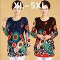 5XL mais mulheres do tamanho roupas XL, 2XL, 3XL, 4XL, 5XL cashmere manga longa camisola da cópia da flor grandes mulheres do tamanho das camisolas pullovers