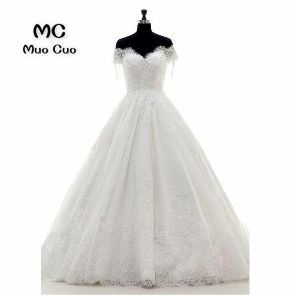 2018 Off Shoulder Wedding Dresses With Lace Appliques Robe De Mariage Tulle Vestido De Noiva Count Train Button Bridal Gowns