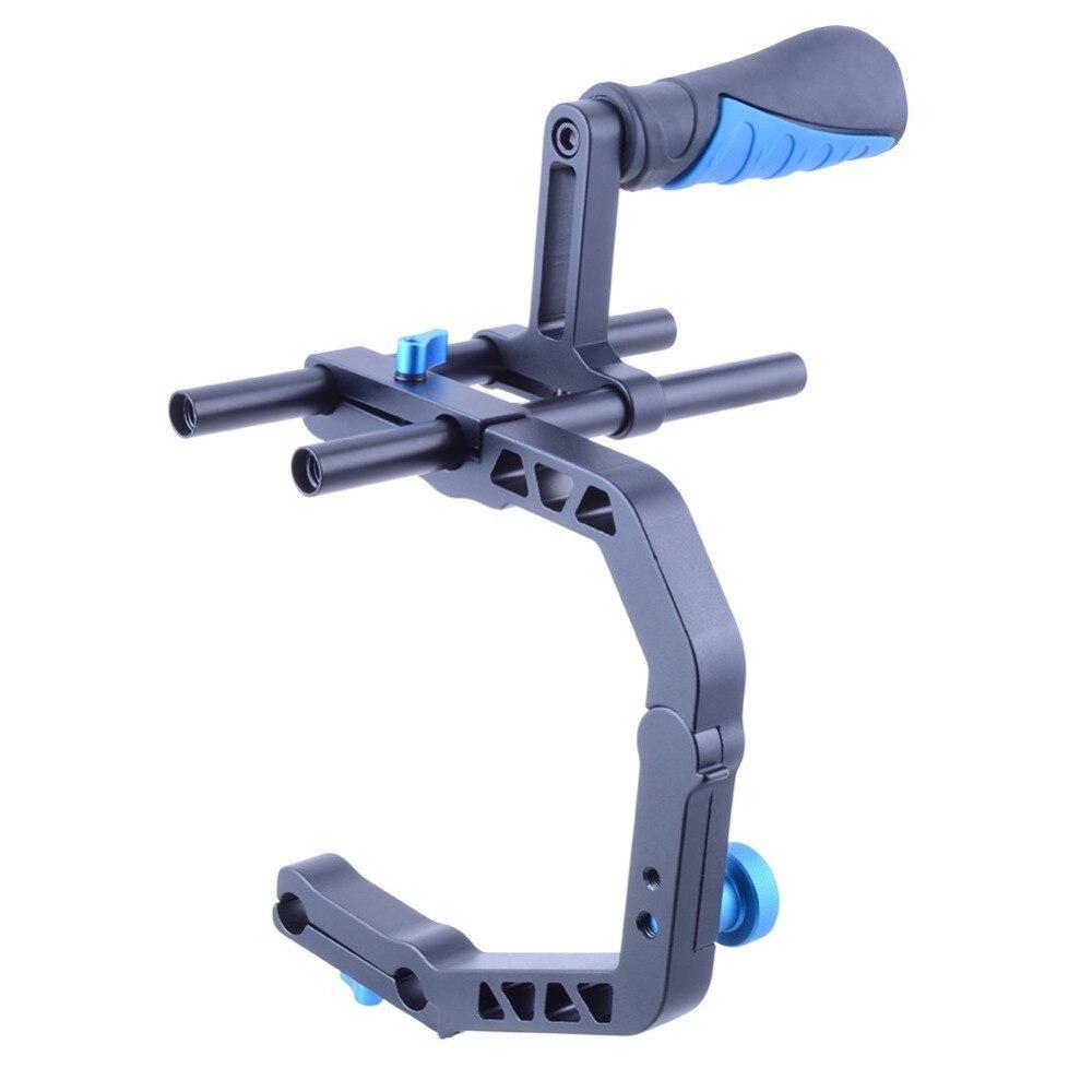 Handheld Aluminum Black C Shape Support Bracket For Cameras And Camcorders u shape handheld dv dslr camcorders speedlite holder bracket black
