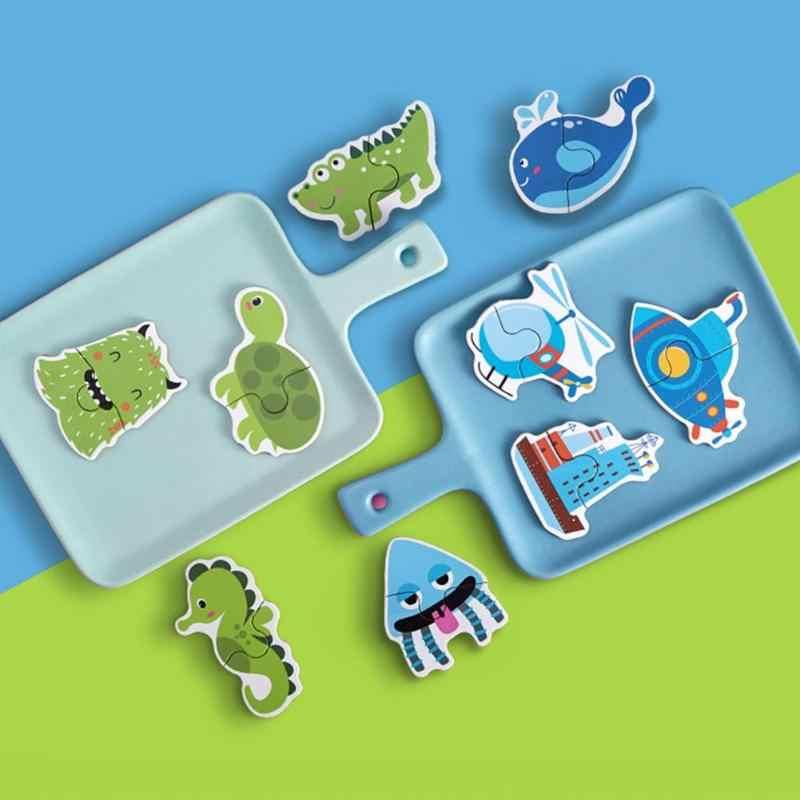 12pcs กระดาษจิ๊กซอว์ปริศนาเกมการ์ตูนการศึกษาสำหรับเด็กของเล่น Match ปริศนาของเล่นเด็ก Early การเรียนรู้ความรู้ความเข้าใจของเล่น