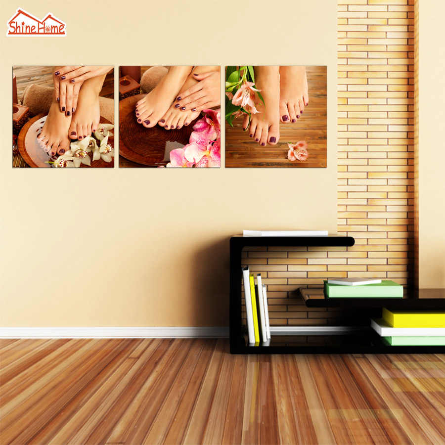 ShineHome-3pcs Triptych Modular Canvas Paintings Nail Feet Massage Salon Shope Wall Picture Poster Prints for Living Room Deco