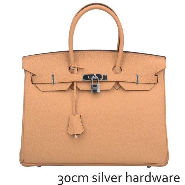 05297d9304b Ainifeel Women s Padlock Handbags Purses with Silver Hardware (30cm)