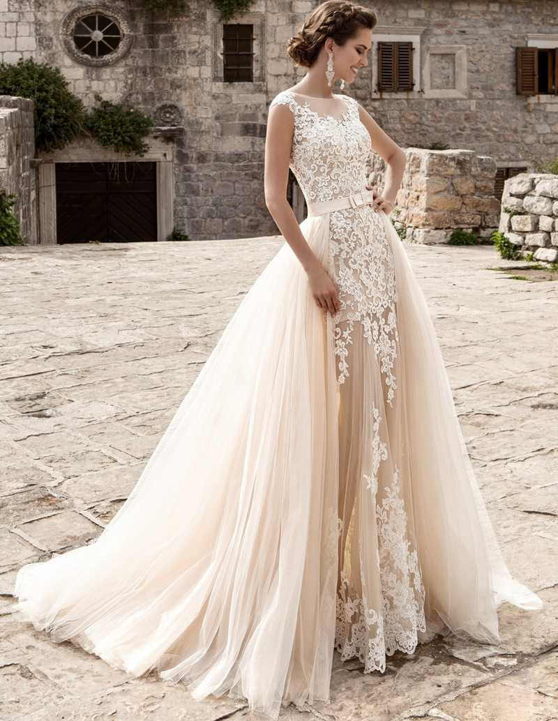 Popular detachable wedding dress train buy cheap for Mermaid wedding dress with train
