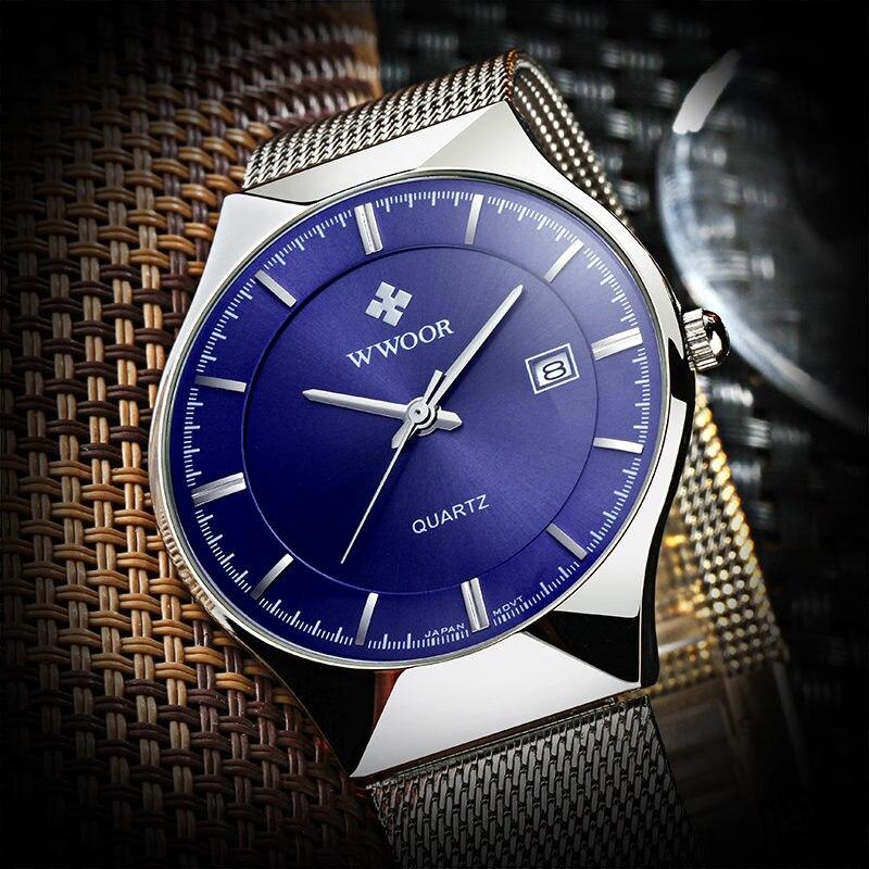 все цены на  relogio masculino Mens Watches Top Brand Luxury WWOOR Quartz Watch Men Fashion Business Wristwatches Full Steel Waterproof Clock  онлайн