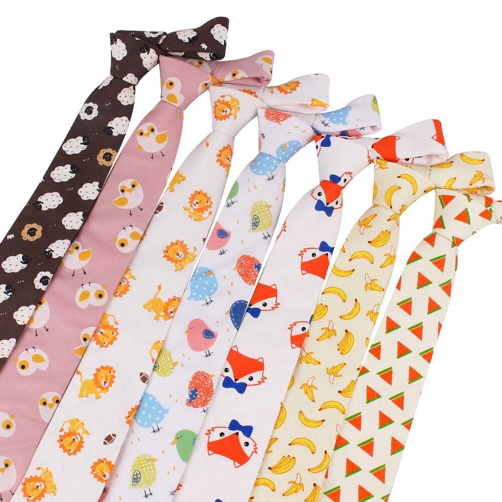 Animal Print Tie For Men Women Skinny Neck Tie For Wedding Business Casual Cartoon Neckties Classic Suits Slim Cotton Neck Ties
