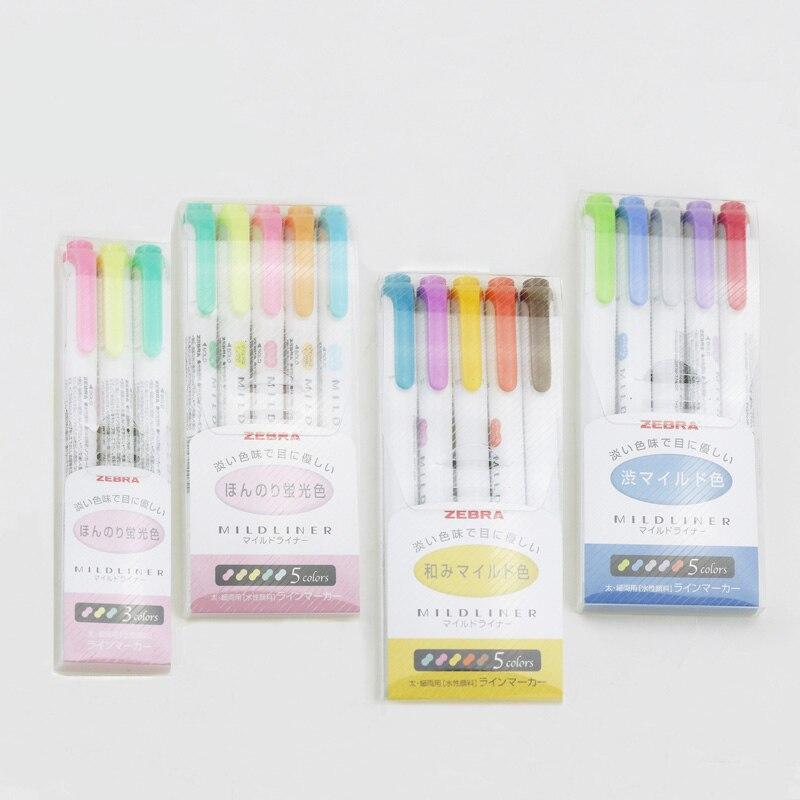 JIANWU 3pcs/set or 5pcs/set Japanese stationery zebra Mild liner double headed fluorescent pen hook pen color Mark pen cute