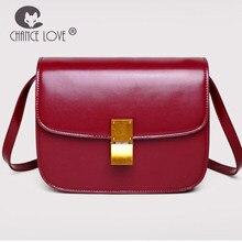 bb17f89e4 Chance de Amor 2018 nova retro mini Flap bag couro Rachado cor Caramelo  vermelho preto ombro bolsa pendurada pequeno simples Mod.