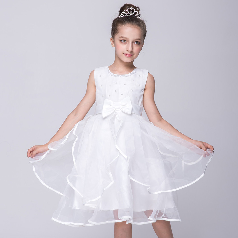 Baby Girl Dress Summer Tulle Sleeveless Diamond Bow Senior