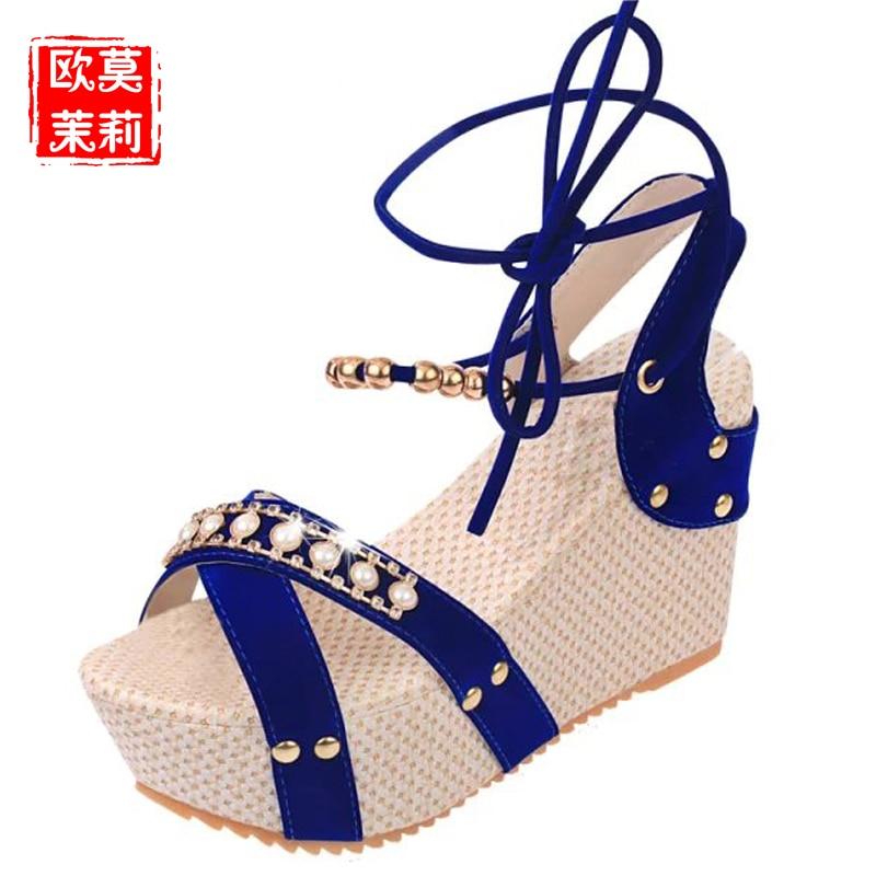 Beige Noir 39 H225 Mode Sandales Talons Chaussures Compensées Ouvert Femmes 35 Hauts Bout noir En Gladiateur Doux À Lacets bleu Cuir Chaîne Taille Perle D'été VSMpUz