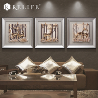 3pcs Framed Deer in the Forest Decorative Painting on the Wall Handpainted Nordic Decoration for Living Room