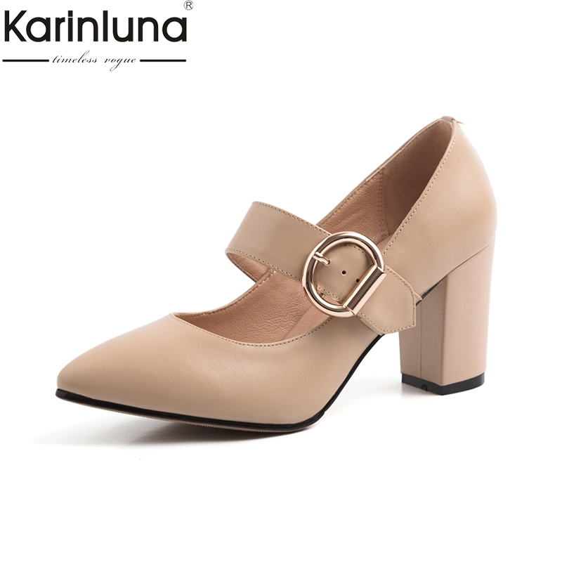 KarinLuna Chunky Heels 2019 Brand New Chic Style Big Size 40 Mature Office Lady women s