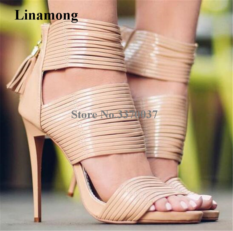 New Fashion Women Summer Open Toe Nude Straps Gladiator Sandals Ankle Wrap High Heel Sandals Dress Shoes Back Zipper-up Shoes ui b30 rubber bluetooth v3 0 speaker w microphone tf fm for iphone black grey