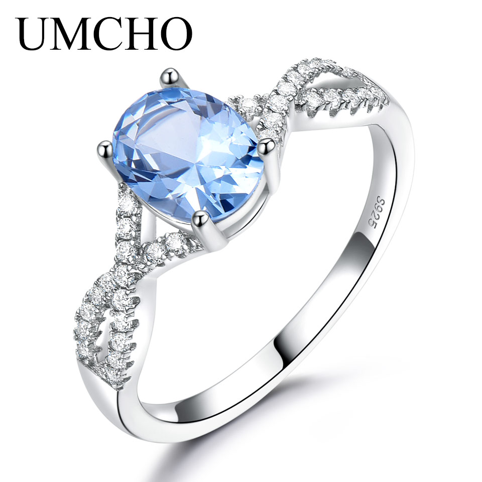 UMCHO Solid 925 Sterling Silver Rings For Girl Trendy Anniversary Gemstone Nano Topaz Wedding Band Party Ring Silver 925 Jewelry