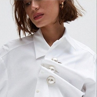 [MENKAY] Two way Wear Pearl Buttons Turn Down Collar Long Sleeve Irregular Cotton Shirt Women Tops White Black High Street New