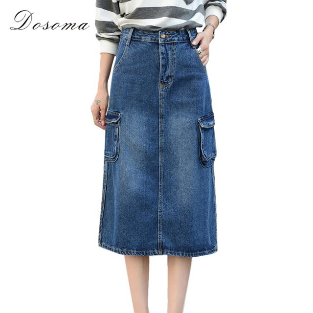 Bolsillo lateral falda de mezclilla mujeres más del tamaño 2017 resorte de alta 7xl más tamaño mediados de cintura de pantalones vaqueros falda larga ocasional de las mujeres elegantes falda