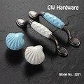 CW Оборудования DECFAB 3201 2 шт. 96 мм Фарфоровые Ручки Ящика Seashell Синий Кухонная Мебель Кабинет Ручки
