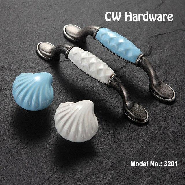 CW Hardware DECFAB 3201 2pcs 96mm Porcelain Drawer Knobs Seashell Blue Kitchen Furniture Cabinet Handle