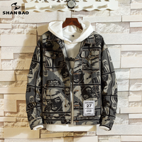 SHANBAO Men's Casual Denim Jacket Creative Red Patch 2019 Spring New Fashion High Street Camouflage Large Size Loose Jacket