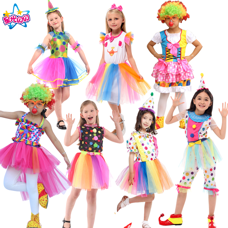Gratis forsendelse Clown Costumes Kids Børn Circus Clown Costume Fancy Fantasia Infantil Cosplay for Boys Piger Fest Dress Up