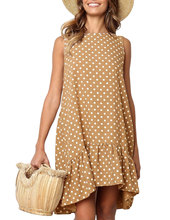 Summer Women Ruffled V-collar Sleeveless Sling Dress Popular Polka Dot Prints Irregular Ruffled Holiday Vestidos polka dot ruffled longline t shirt