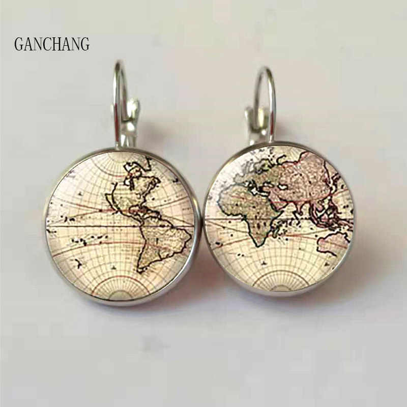 New American Movie Map Brass Post Women's Glass Punk Jewelry Stud Earth World Map 1pair / Lot Arrow Vintage Earrings Steampunk
