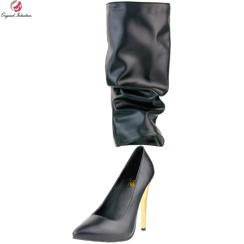 Original Intention Super Stylish Women Knee High Boots Pointed Toe Thin Heels Boots Fashion Black Shoes Woman Plus US Size 4-15 бра idlamp alda 841 1a whitechrome