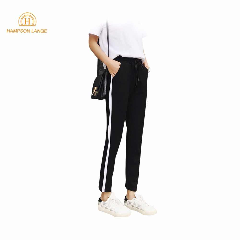 Rayas dijo negro pantalones de corte Slim de 2018 mujeres primavera otoño  Casual Pantalones Mujer Pantalones e132d901d48b