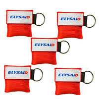 Hot Sale 50Pcs/Lot Red First Aid CPR Mask Face Shield One way Valve Resuscitator Keychain Ring Mouth Breath Life Safe CPR Mask