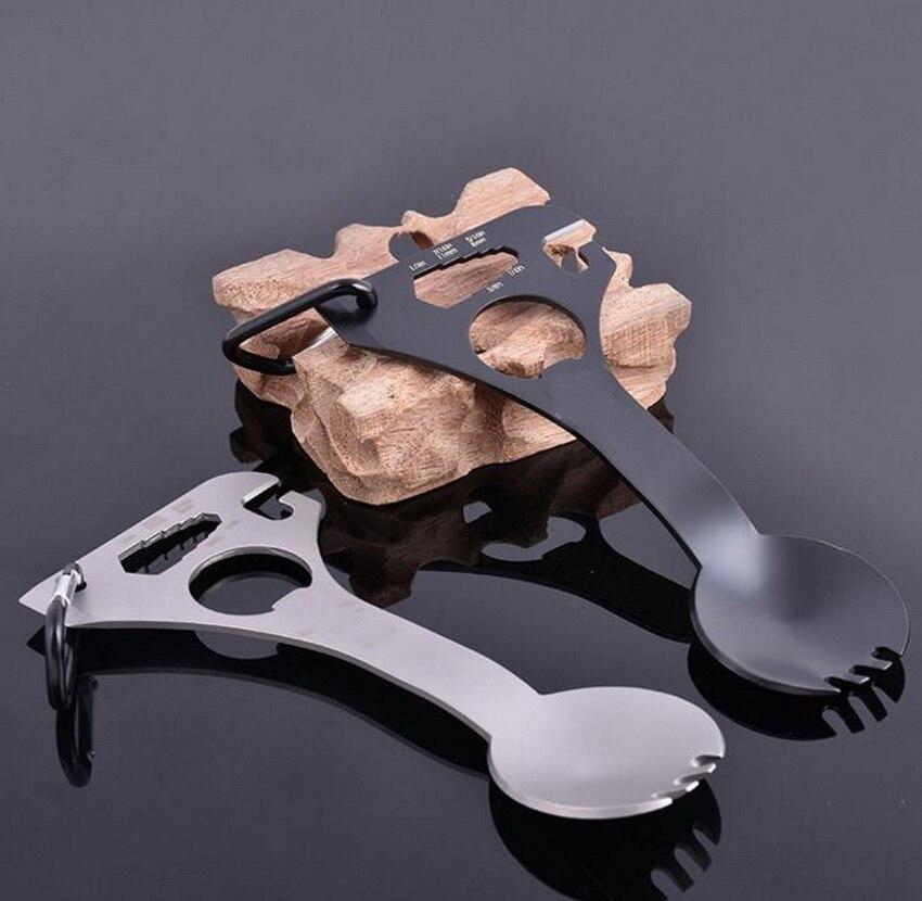 EDC gadgets al aire libre para acampar vajilla cuchara de acero inoxidable multi