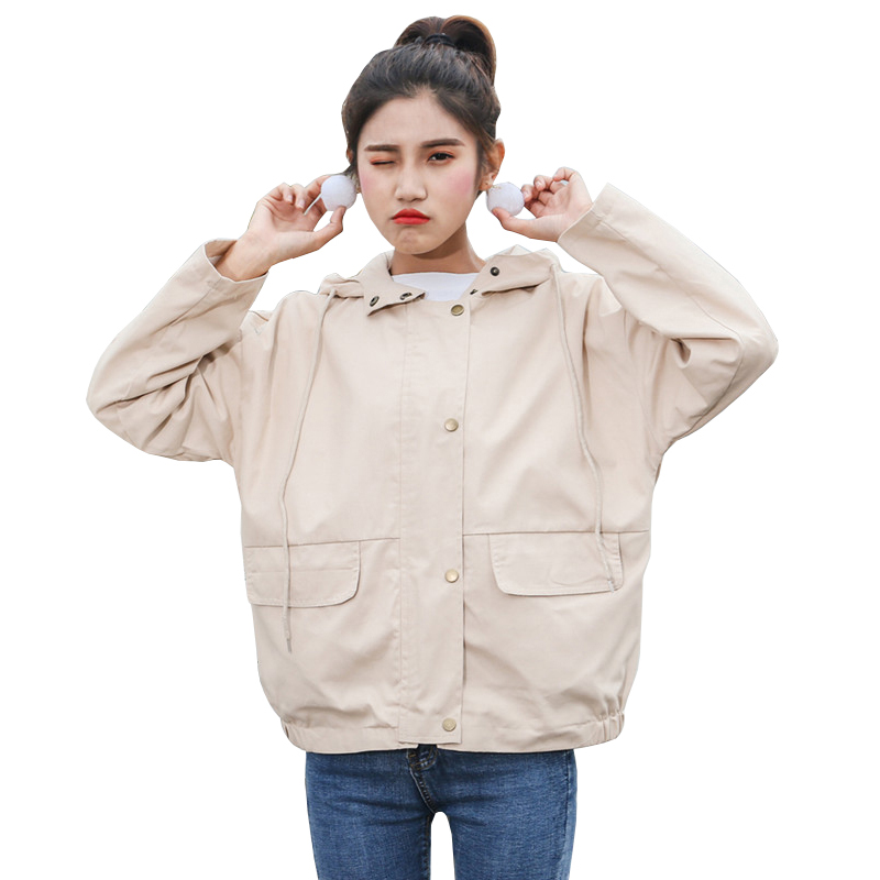 2019 Korean New Loose Women's Windbreaker Harajuku Jacket Spring Hooded Drawstring Long Sleeve Zipper Coat Women Basic Jackets