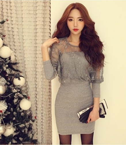 Vestido gris corto manga larga