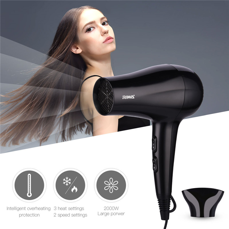 Mini Professional Hair Dryer 2000W Collecting Nozzle 220V Travel Household Electric Hair Blower Hairdryer Hot Cold Air Adjust