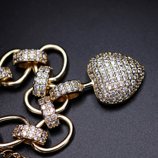 Luxury Full Cubic Zirconia Heart shape Pendant Necklace for women Gold Color High Quality Chain Necklace sparking Fine Jewelry