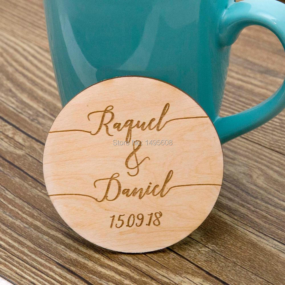 Wedding Favors Coaster.Us 4 92 18 Off Calligraphy Custom Coaster Wood Engraved Coasters Wedding Favors Personalised Coasters Bridal Shower Favor In Party Favors From Home