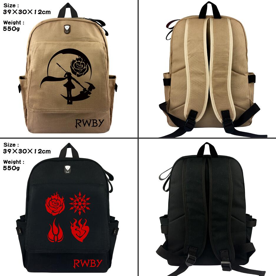 RWBY Ruby Rose Crescent Rose canvas Backpack student School bag Casual Fashion zipper Rucksack Travel bag Shoulder Bag Bookbag