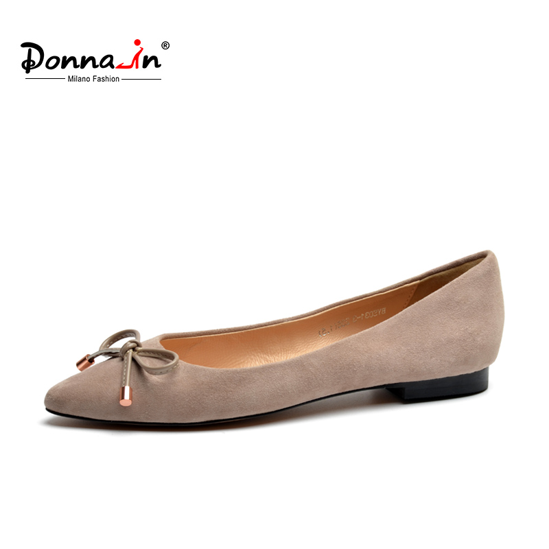 Donna-in 2018 Women Ballerina Flats Shoes Genuine Leather Pointed Toe Natural Kid Suede Designer Luxury Brand Ladies Shoes odetina 2017 new designer lace up ballerina flats fashion women spring pointed toe shoes ladies cross straps soft flats non slip